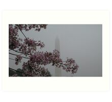 cherry blossoms and monument Art Print