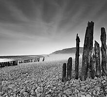 Groynes at Porlock Weir by kernuak
