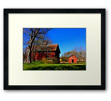 """ A Red Barn ,with Green Grass and Blue Sky "" Framed Print"
