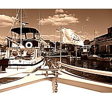 Coming Into The Dock in Sepia Photographic Print