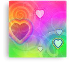 rainbow heart and spiral Canvas Print
