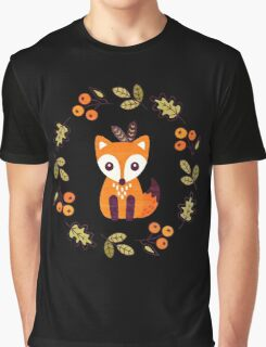 Little Fox with Autumn Berries Graphic T-Shirt