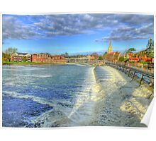 Marlow Weir and Bridge - HDR Poster