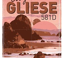 Exoplanet Travel Poster GLIESE 581 by Chungkong