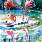 Spring Flamingos by Nyx Martinez