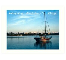 """Boat at Forster NSW Australia - """"Happy Father's Day"""" Card  Art Print"""