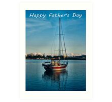 """Boat at Forster NSW Australia """"Happy Father's Day"""" Card Art Print"""