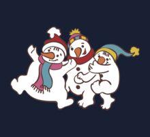 Three Happy Little Snowmen having fun Kids Tee