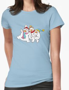Three Happy Little Snowmen having fun Womens Fitted T-Shirt