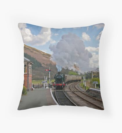 Puffing into the station. Throw Pillow