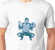 Baseball Catcher Gloves Woodcut Unisex T-Shirt