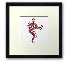 Baseball Pitcher Throwing Ball Woodcut Framed Print