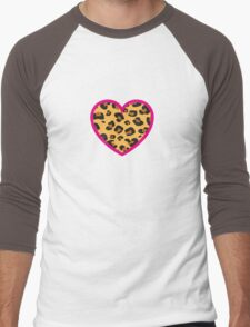 Leopard Heart Men's Baseball ¾ T-Shirt