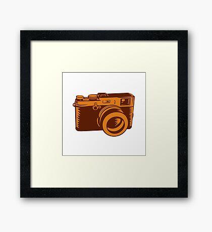 Camera 35mm Vintage Woodcut Framed Print
