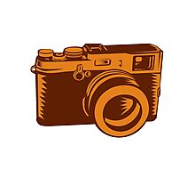 Camera 35mm Vintage Woodcut Photographic Print