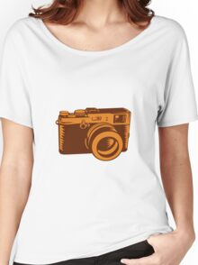 Camera 35mm Vintage Woodcut Women's Relaxed Fit T-Shirt