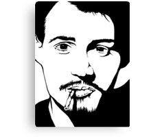 Johnny Depp Black And White Print Canvas Print