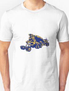 Cement Truck Rear Woodcut Unisex T-Shirt