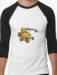 Cherry Picker Mobile Lift Platform Woodcut Men's Baseball ¾ T-Shirt