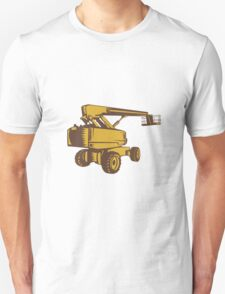 Cherry Picker Mobile Lift Platform Woodcut Unisex T-Shirt