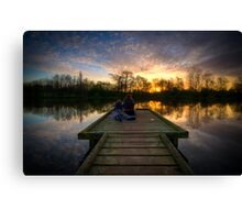 Sunrise Lovers By The Lake Canvas Print