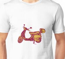 Scooter Bike Side Vintage Woodcut Unisex T-Shirt