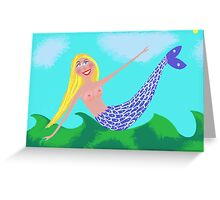 Nude yellow-haired mermaid Greeting Card
