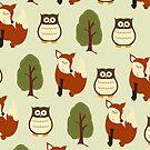Fox, Owl and Tree Woodland Case by JessDesigns