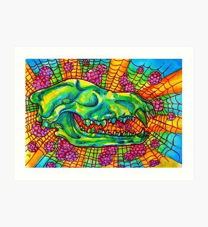 acidic wolf skull Art Print