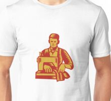 Tailor Sewing Machine Woodcut Unisex T-Shirt
