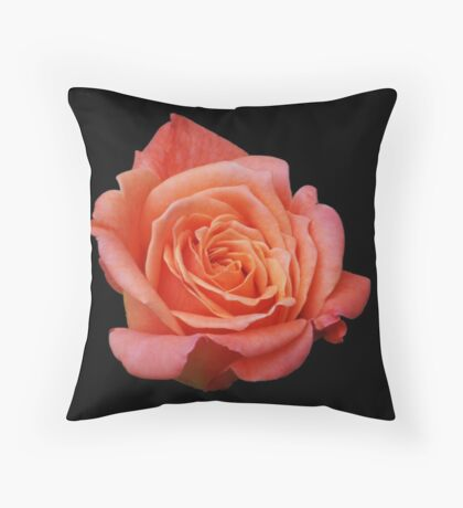 Peach Rose on Black Throw Pillow