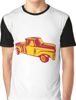 Vintage Pick Up Truck Woodcut Graphic T-Shirt