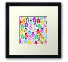 Rainbow penguins Framed Print