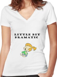 Little Bit Dramatic (Pebbles Flintstone) Women's Fitted V-Neck T-Shirt