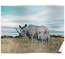 Rhinoceros Mother and Calf. Poster