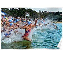 Balmoral Ocean Swim - Blue Caps Poster