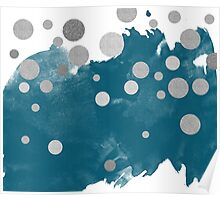 Smudge - Prussian Blue and Silver Poster