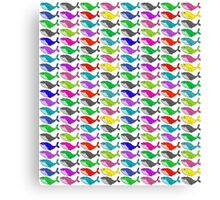 Rainbow whales Canvas Print