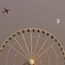 Moonrise Over Seattle's Great Wheel by Alex Preiss