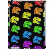 Rainbow T-Rex Pattern Black iPad Case/Skin