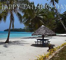 "Beach in Vanuatu (Santo) ""Happy Father's Day"" Card by Sandy1949"