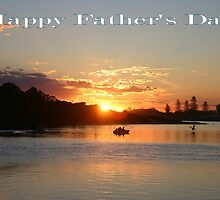 "Sunset at Forster NSW Australia ""Happy Father's Day"" Card by Sandy1949"