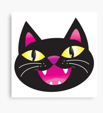 Black cat happiness Canvas Print