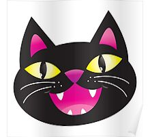 Black cat happiness Poster