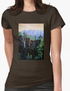 Grass Trees Maroon Dam Womens Fitted T-Shirt