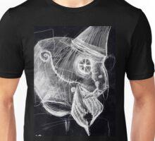 cyborg undead sad Bird Brain Parrot machine drawing inverted Unisex T-Shirt