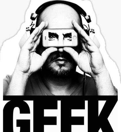 GEEK slogan, nerd with headphones & iphone Sticker
