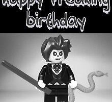 """Happy Freaking Birthday"" Custom LEGO® Evil Magician Birthday Greeting Card, by 'Customize My Minifig' by Chillee"