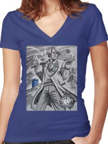 The Fifth Doctor  Women's Fitted V-Neck T-Shirt