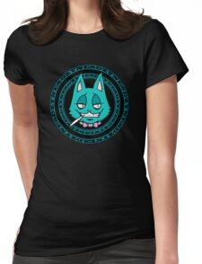J-Cat Circle Blue Womens Fitted T-Shirt